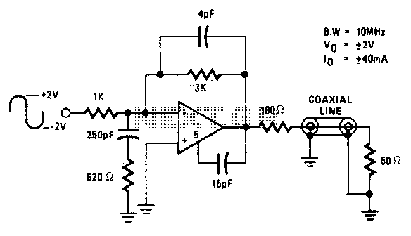10Mhz coaxial line driver - schematic