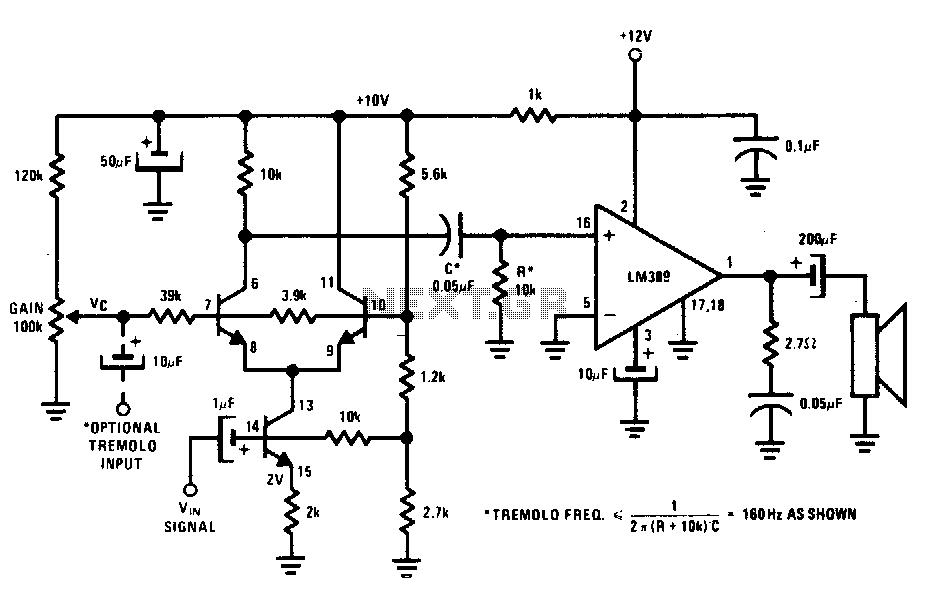 Voltage-controlled amplifier or tremolo circuit - schematic