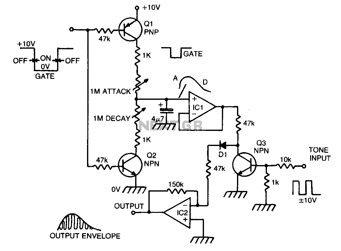 Musical envelope generator and modulator - schematic