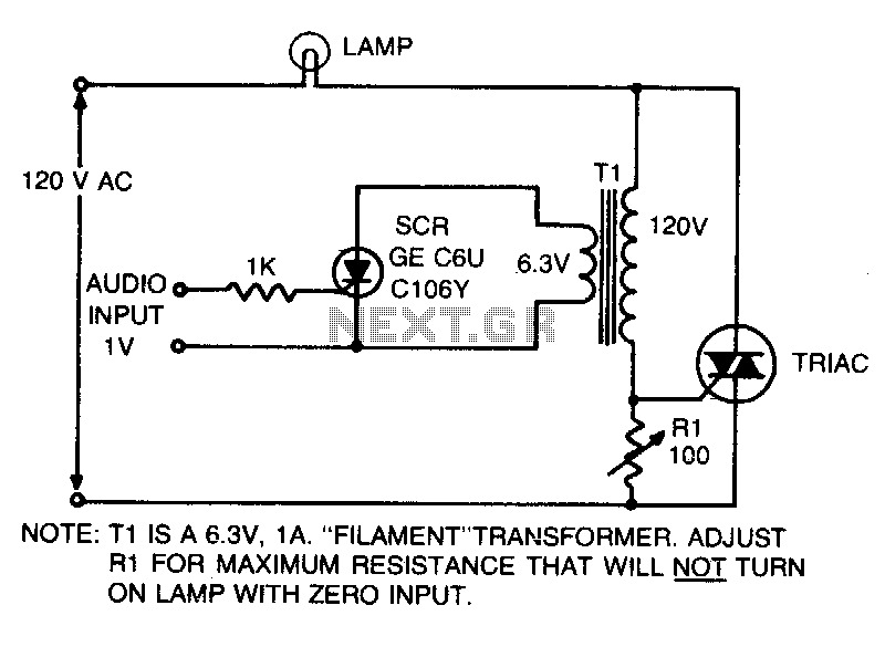 Audio-controlled lamp - schematic