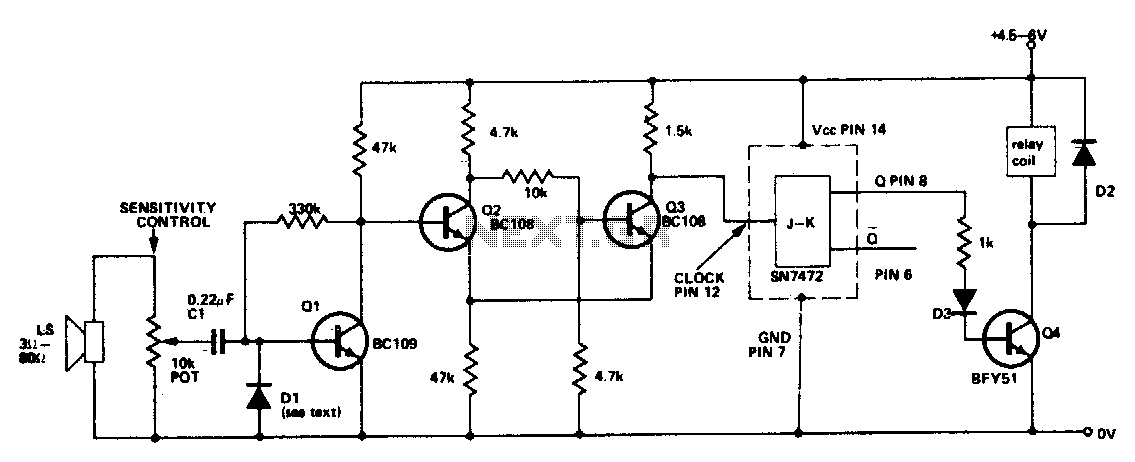 Sound operated two-way switch - schematic