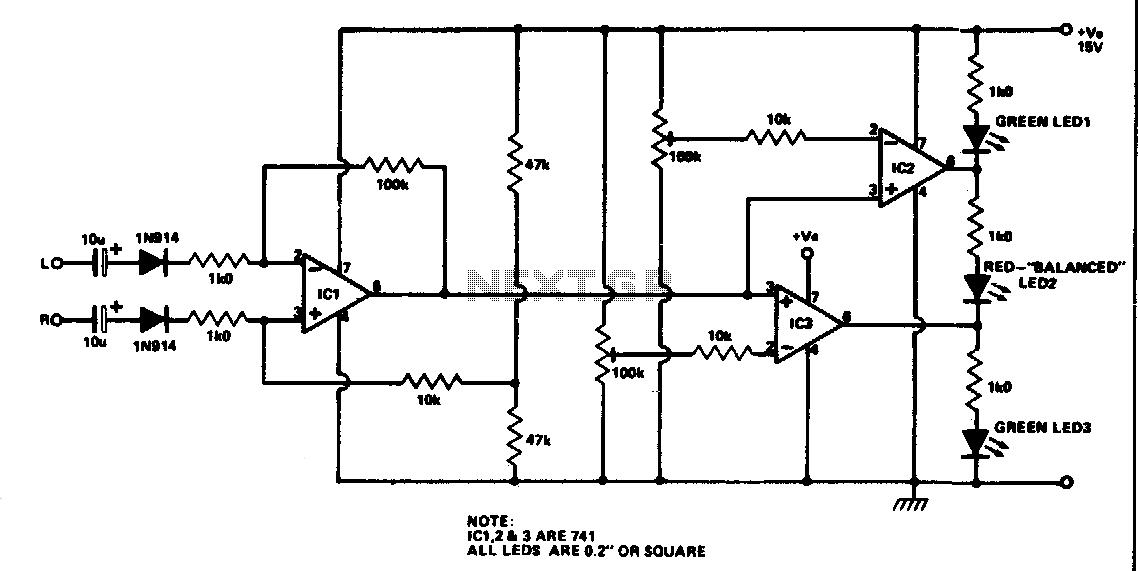 Stereo balance meter - schematic