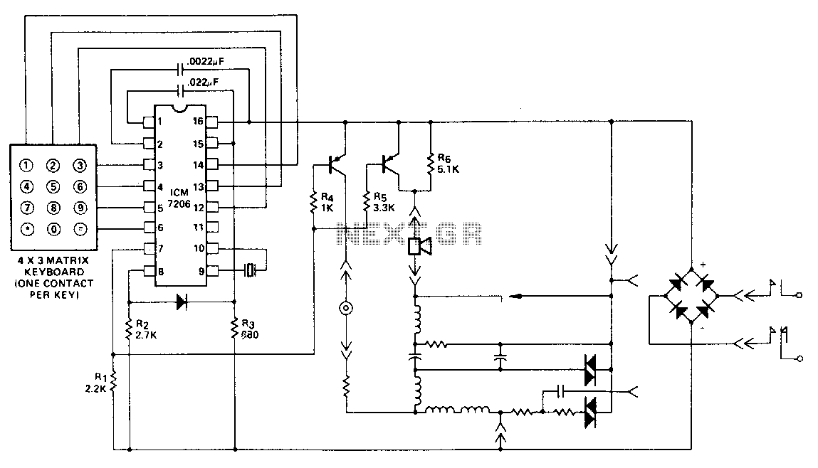 telephone handset tone dial encoder under dtmf circuits