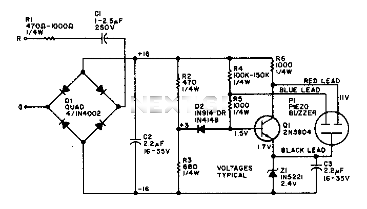 Telephone ringer piezoelectric - schematic