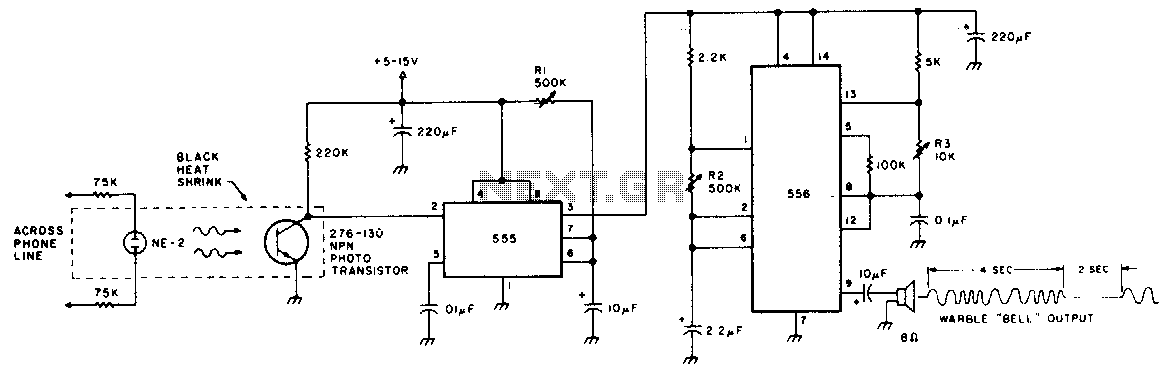 Electronic phone bell - schematic