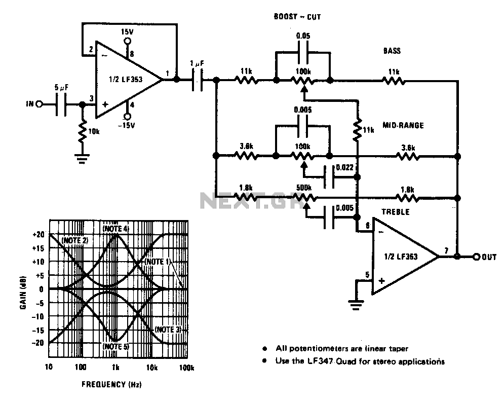 circuit diagram of 6 channel audio mixer