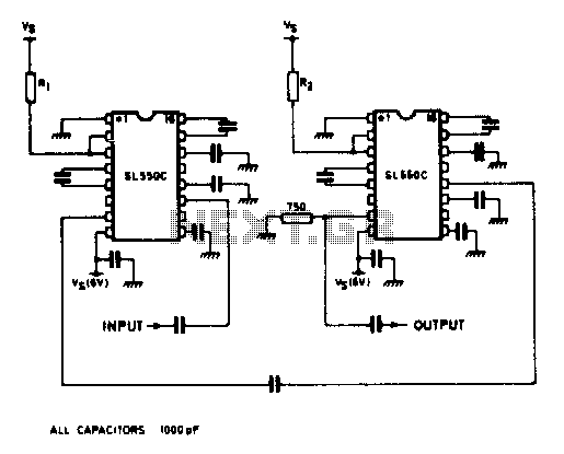 Two-stage wideband amplifier - schematic