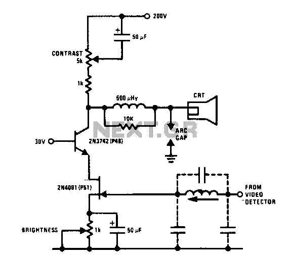 Jfet bipolar cascode video amplifier - schematic