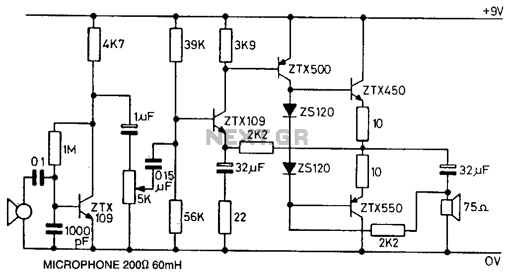 Microphone-amplifier - schematic