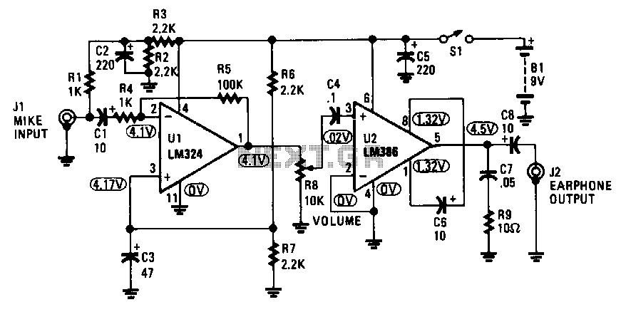 lm324 audio amplifier circuit bridged to two outputs