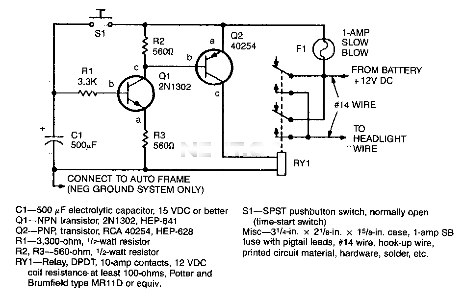Automatic-headlight-delay - schematic