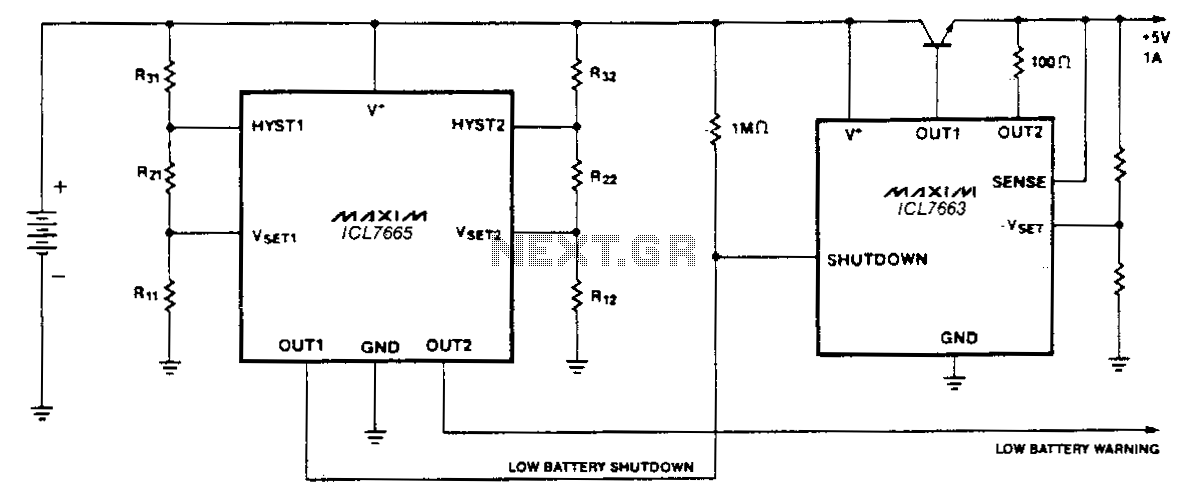 Low-battery-warnlng-disconnector - schematic