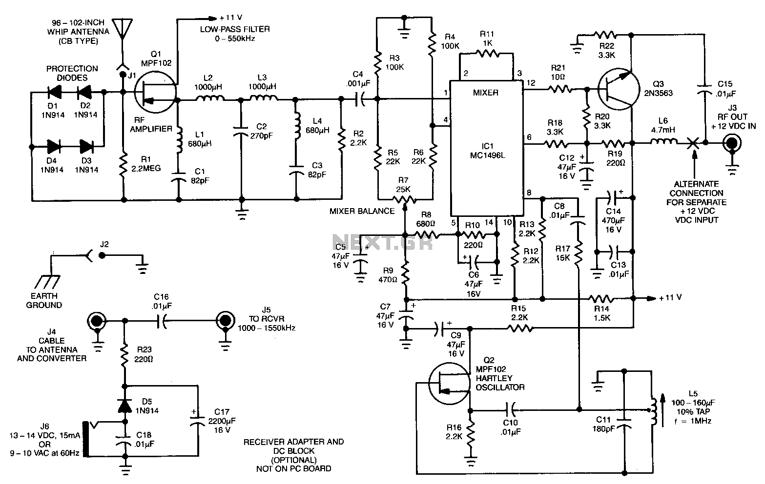 Receiver Circuit Rf Circuits High And Low Frequency Noise Generator Schematic Converter