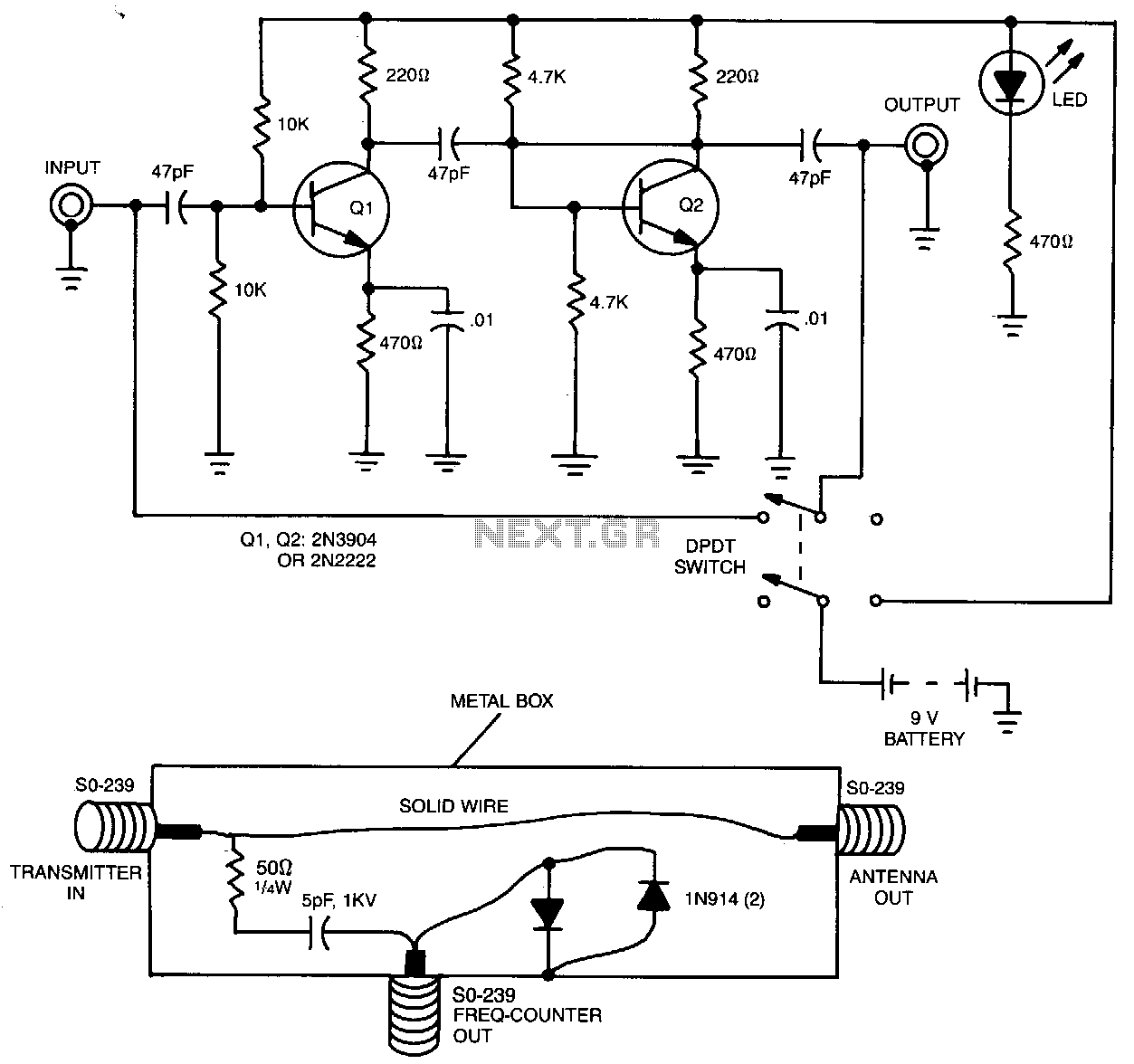 Frequency Counter Preamplifier Circuit : Lighting circuit page light laser led circuits next gr