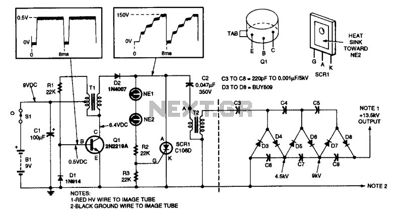 13KV High voltage power supply - schematic