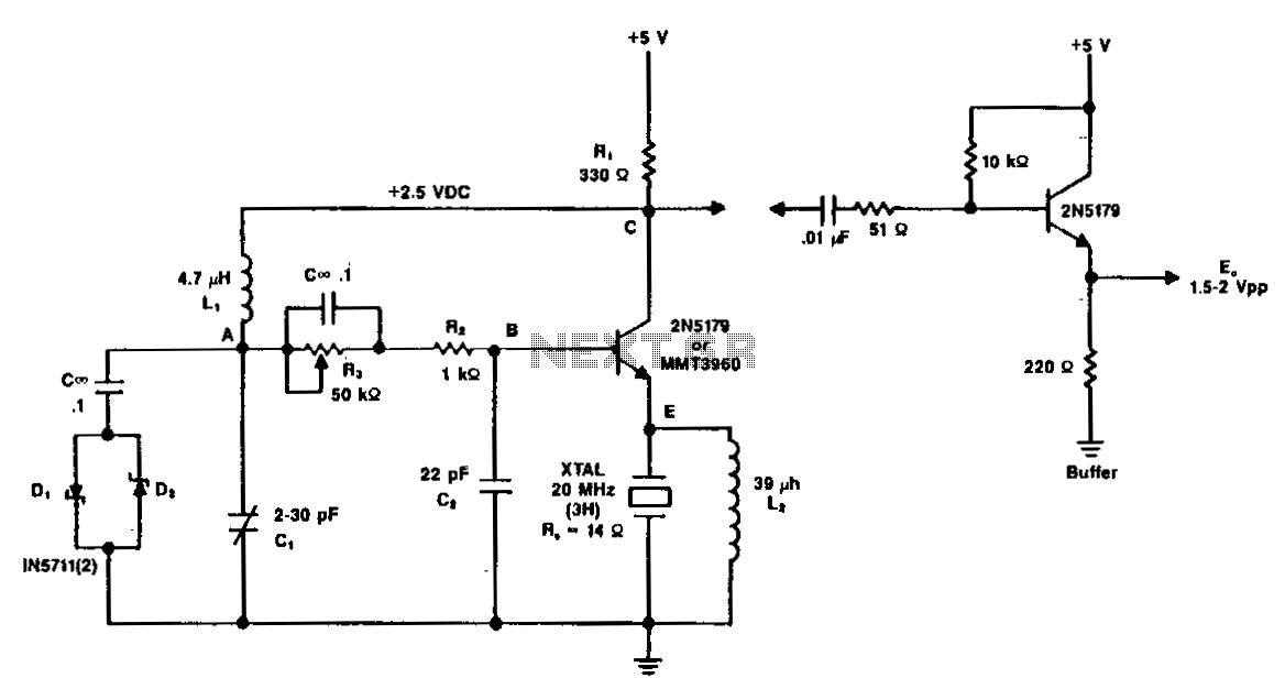 20Mhz-vhf-crystal-oscillator - schematic