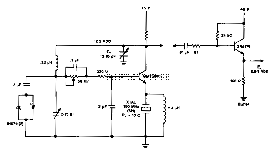 100Mhz-vhf-crystal-oscillator - schematic
