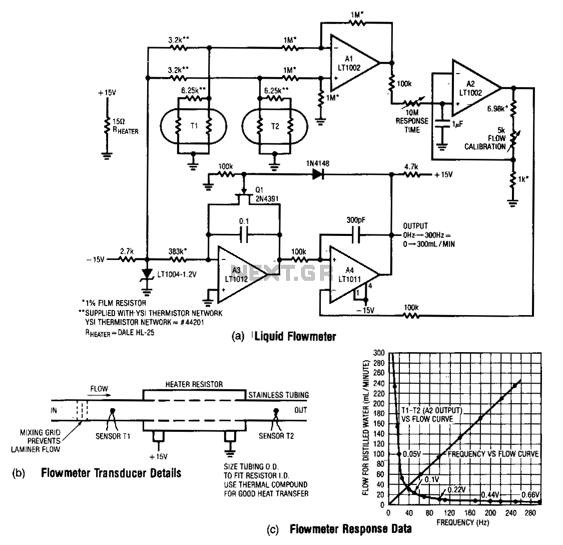 Low-flow-rate-thermal-flowmeter - schematic