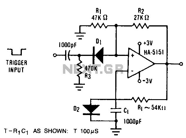 Monostable-multivibrator - schematic