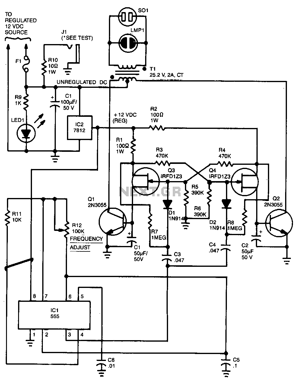 Inverter Circuit Power Supply Circuits Nextgr - Circuit diagram of an inverter