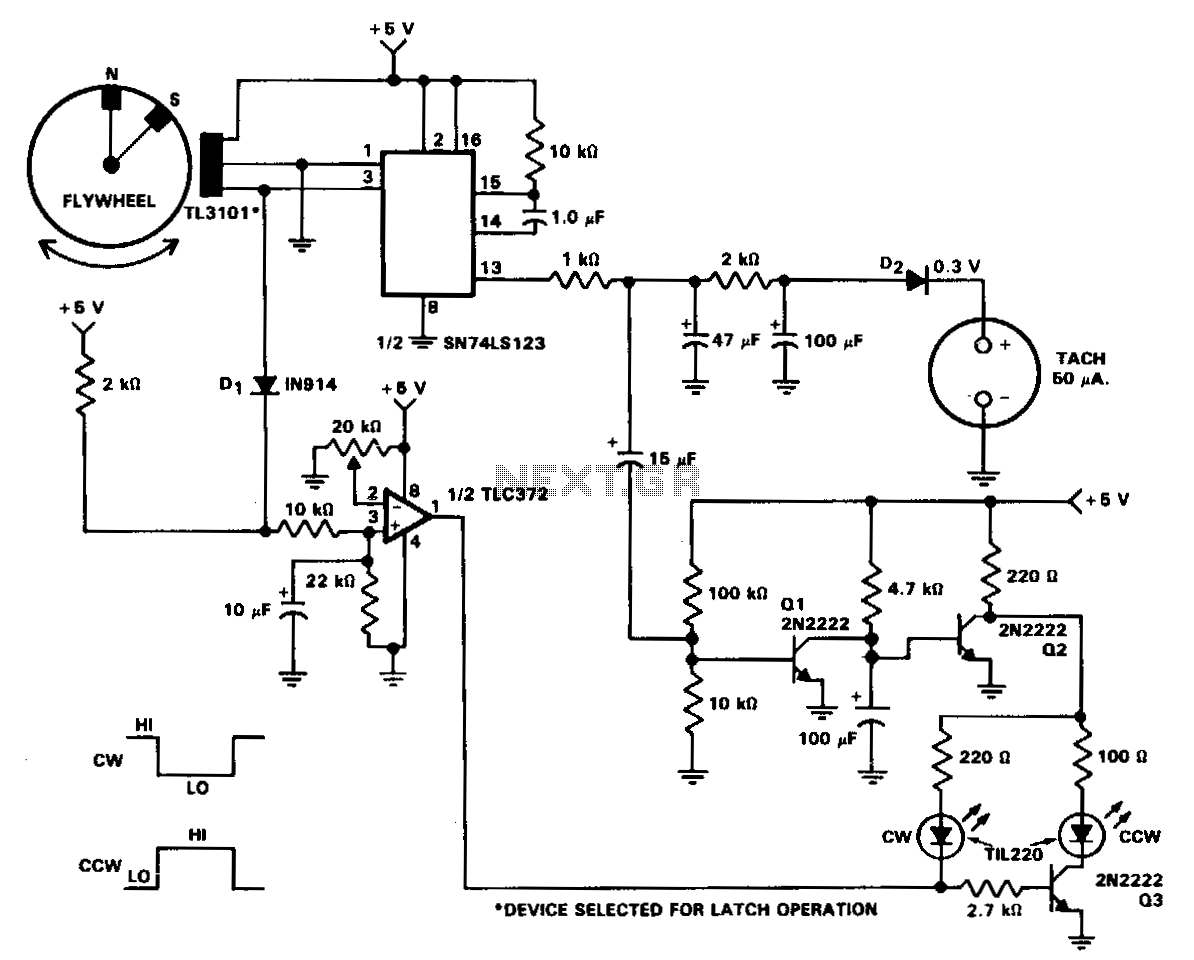 Tachometer-and-direction-of-rotation-circuit