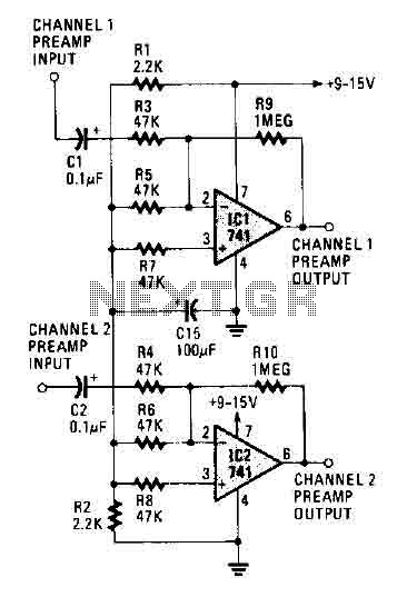Stereo Preamplifier Circuit (741)