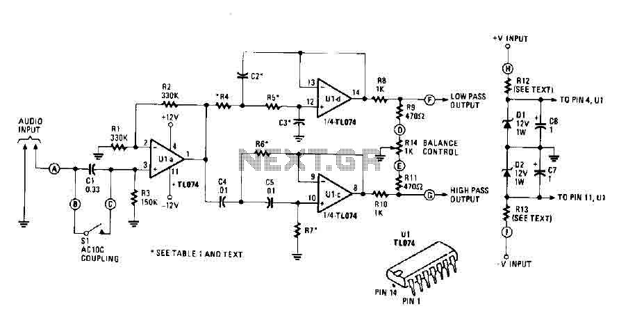 Active crossover circuit with TL074