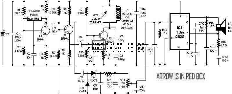 metal detector circuit with tda2822 under metal detector