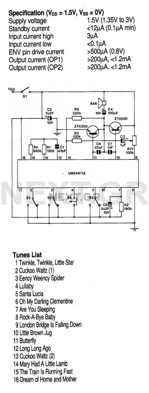 Top Circuits Http Circuitdiagramhqewnet Adjustablevoltageregulatorcircuit Multi Instrument Melody Generator Um34811a This Circuit