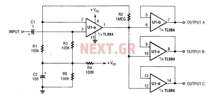 Audio splitter amplifier circuit with TL084