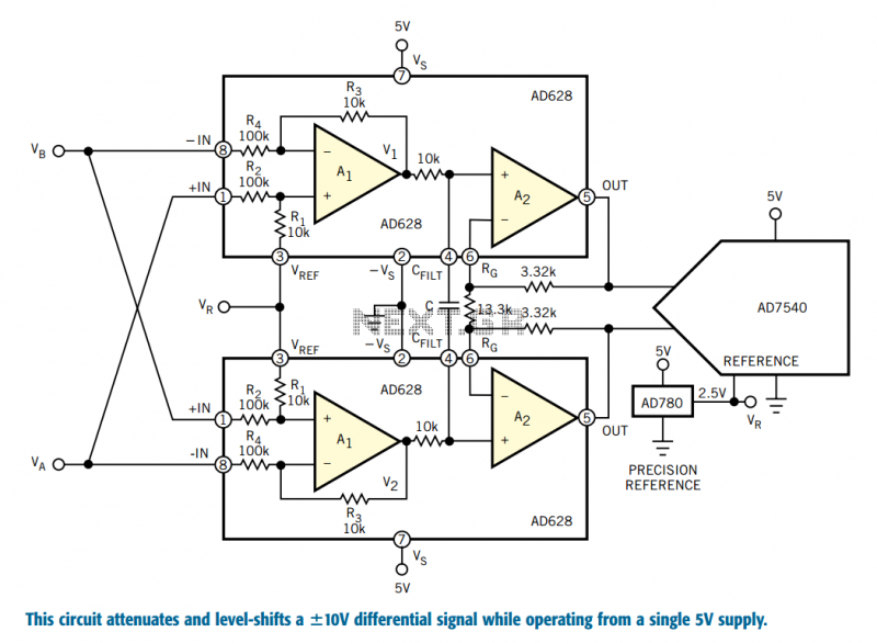 ADC interface conditions high-level signals - schematic