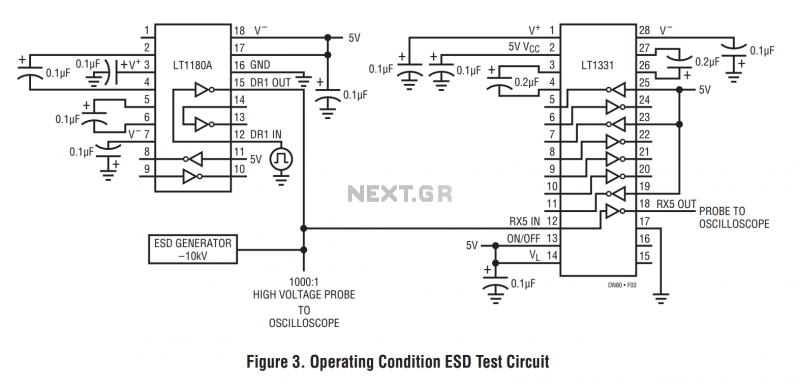 esd testing for rs232 interface circuits under pc circuits