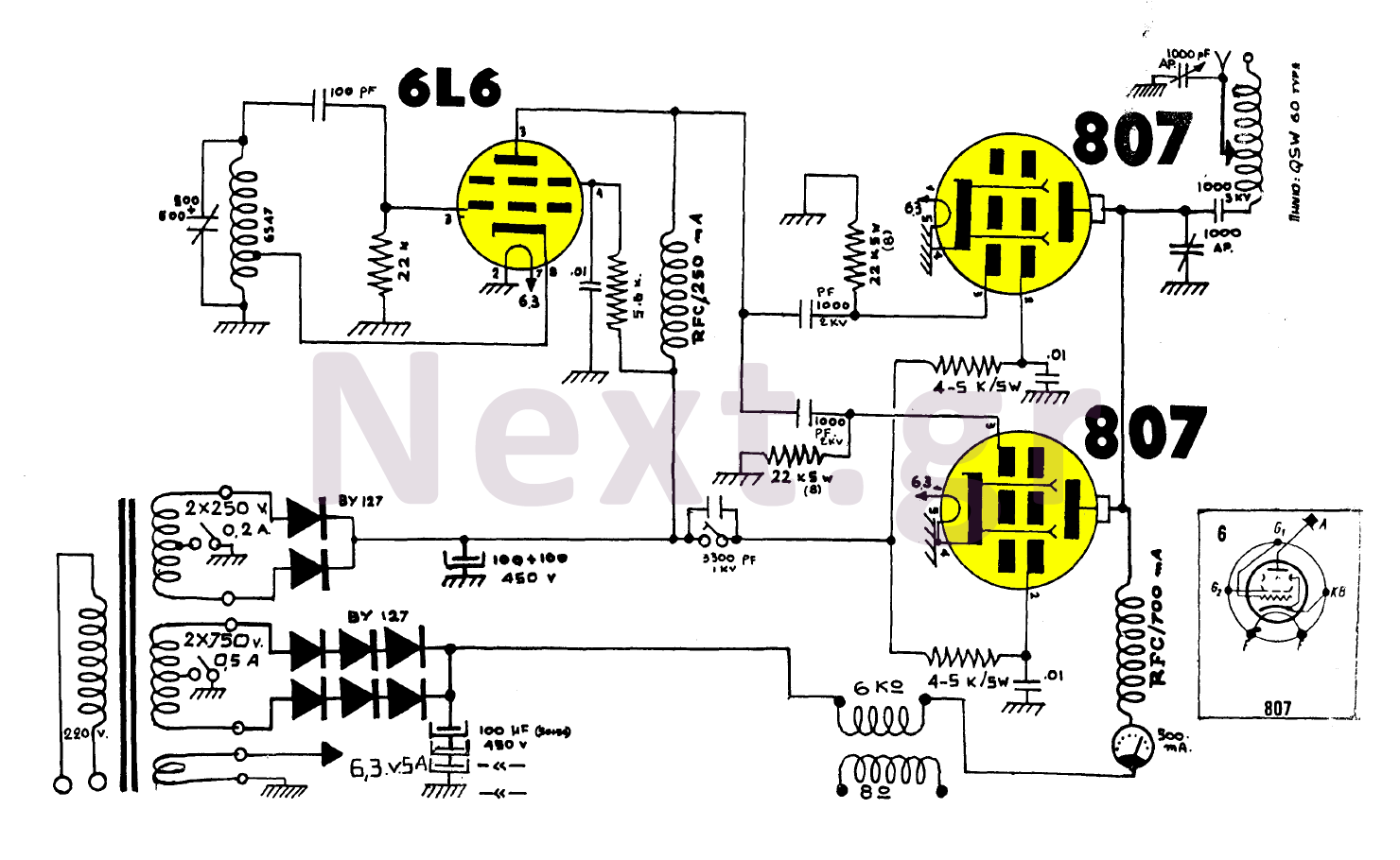 100W AM Valve Transmitter circuit - schematic
