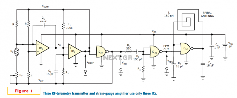 RF-telemetry transmitter features minimal parts count - schematic
