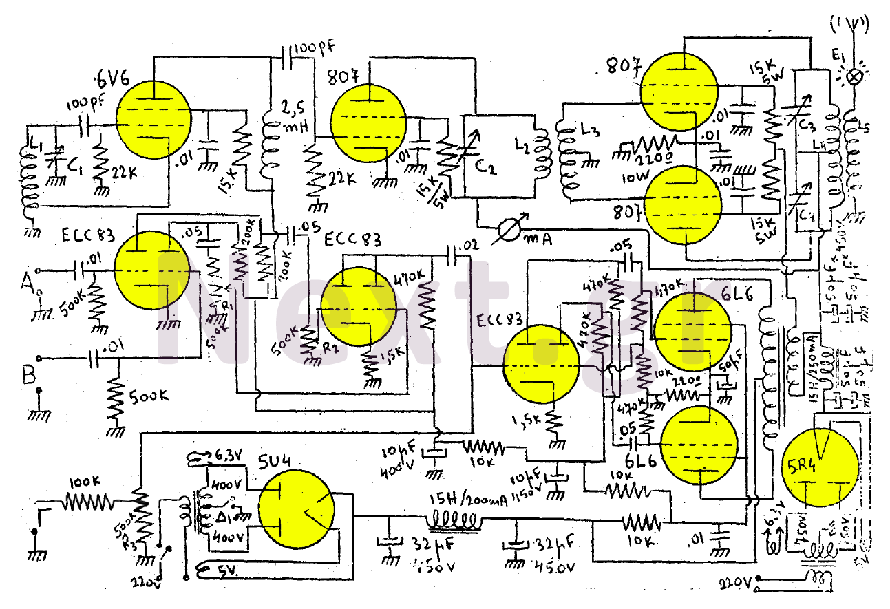 100W AM Valve RF Transmitter circuit - schematic