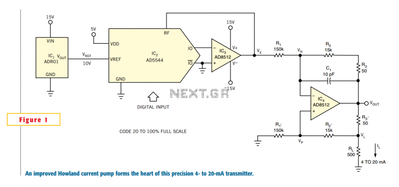 Small circuit forms programmable 4- to 20-mA transmitter - schematic