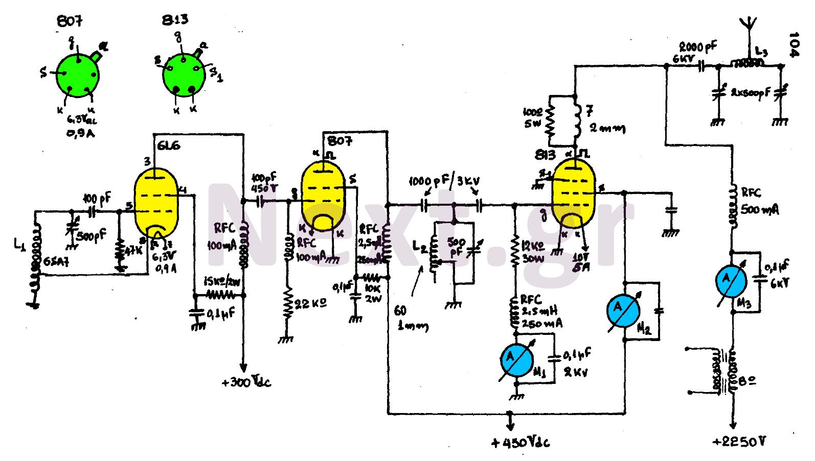 300W Valve RF Transmitter circuit - schematic