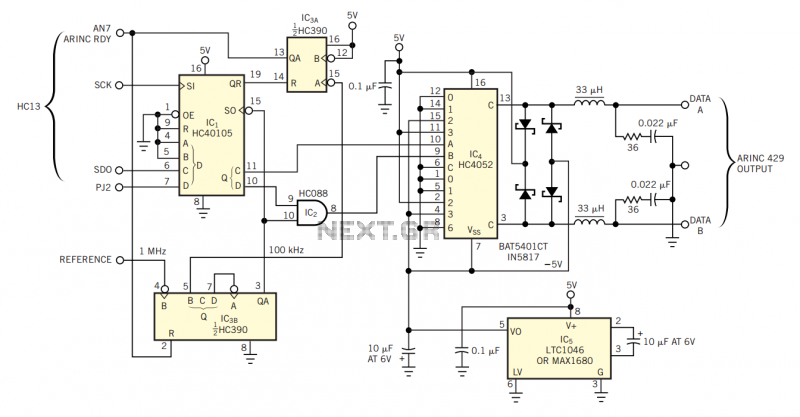 Circuit transmits ARINC 429 data - schematic