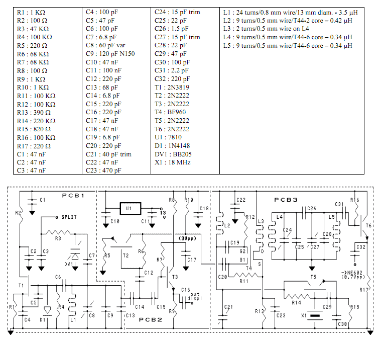V.F.O. for H.F with PLL - schematic