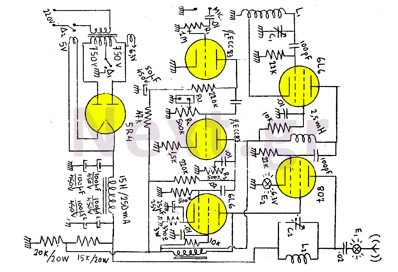Vacuum Tube Valve Circuit Audio Circuits Current Limiting Amplifier Amplifiercircuitsaudio 50w Am Rf Transmitter