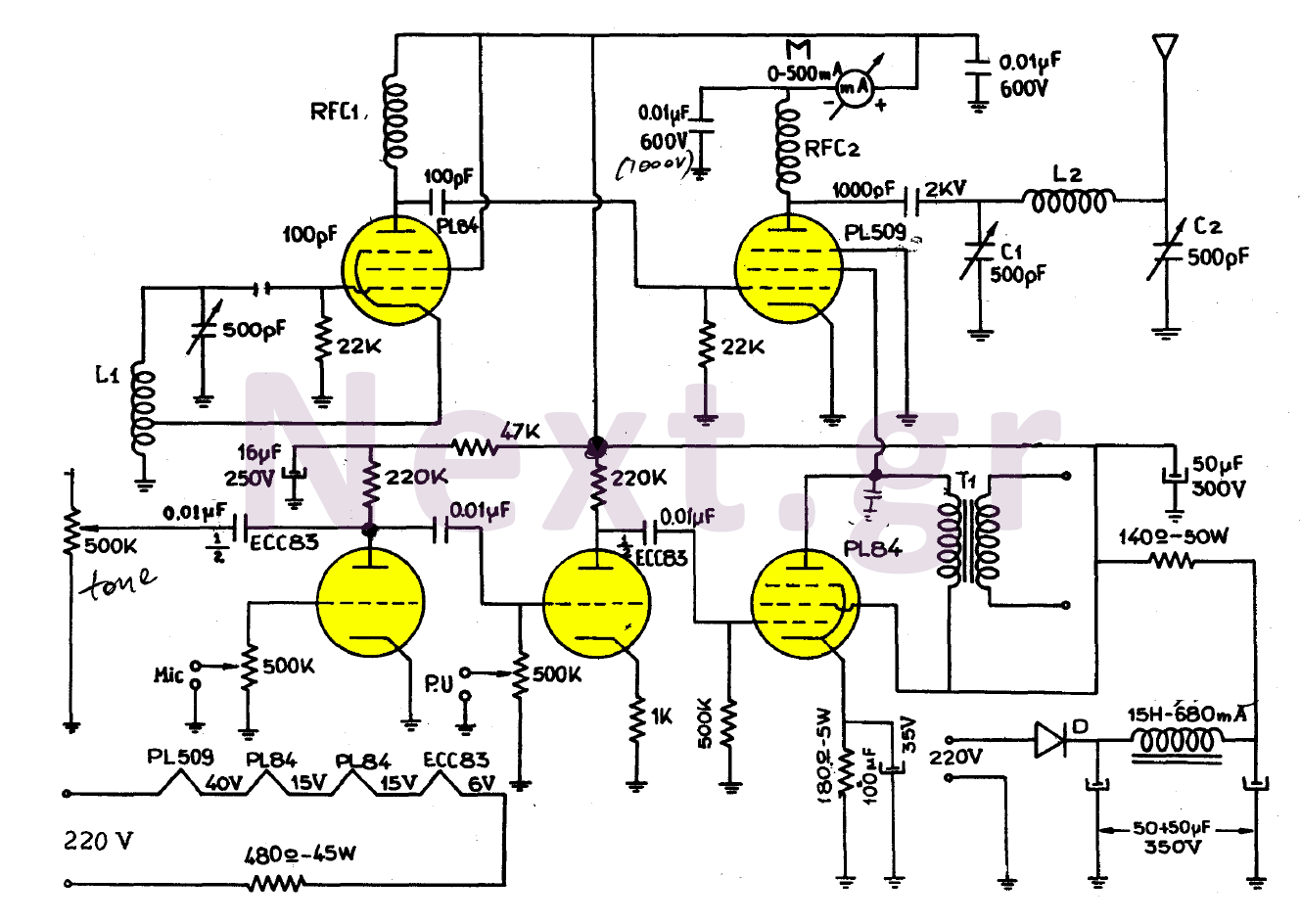 Simple Valve MW Transmitter circuit 30W - schematic