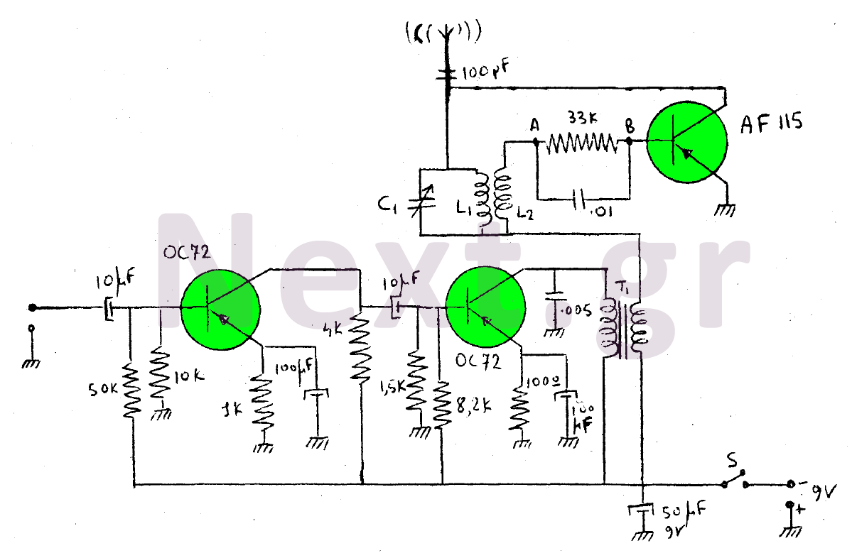 Mini transistor Transmitter 50mW schematic