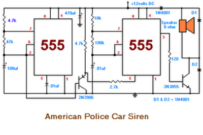 American Police Car Siren by IC 555 - schematic