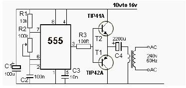 12V Power Inverter Using 555 - schematic