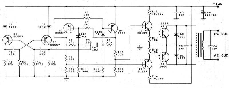 100W DC Inverter Circuit with PCB Design - schematic