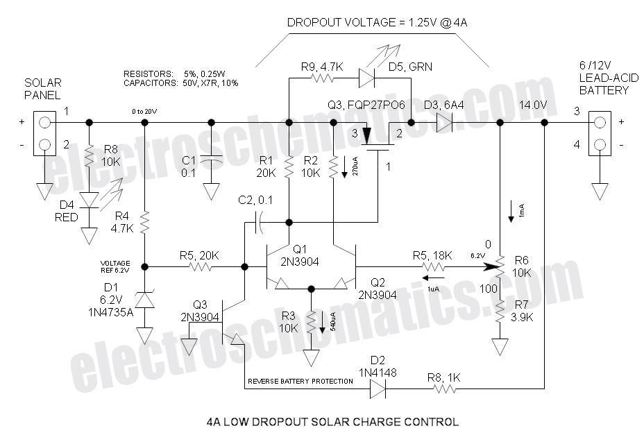 12V LDO Solar Charge Controller - schematic