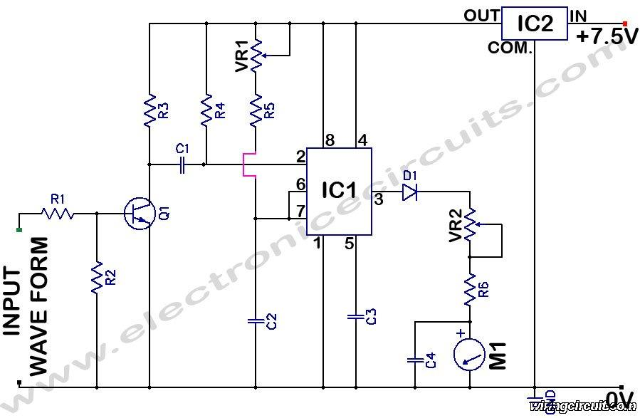 Analog Frequency Meter Circuit - schematic