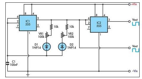 555 Timer Circuit With Variable On/Off Times - schematic