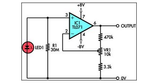 using led as a light sensor - schematic