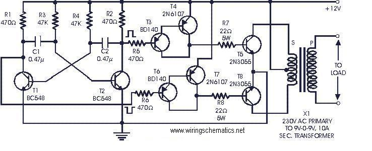 12VDC to 230VAC 60W Inverter Circuit - schematic